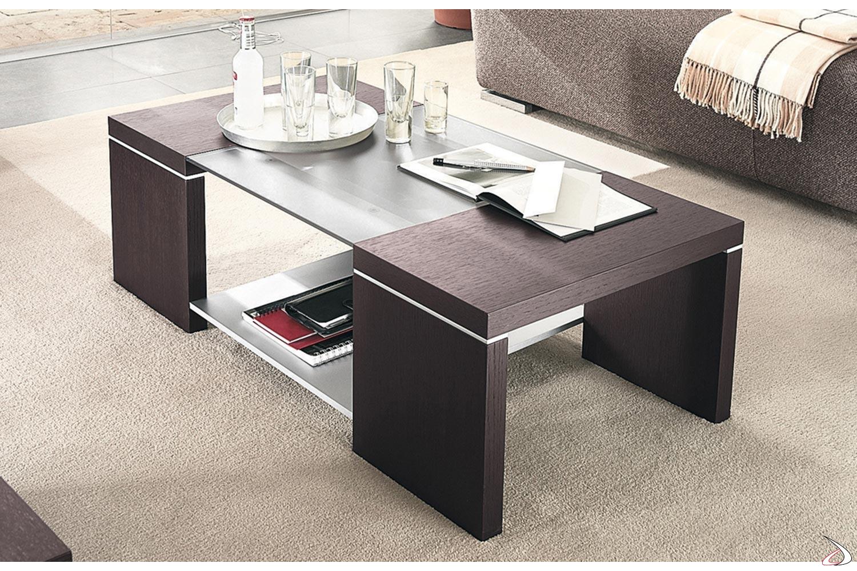 moderno Tavolino da caff/è con gambe in legno e ripiano comodino in vetro