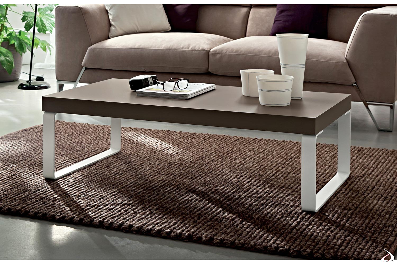 Tavolino di design da centro salotto con game a slitta bianche