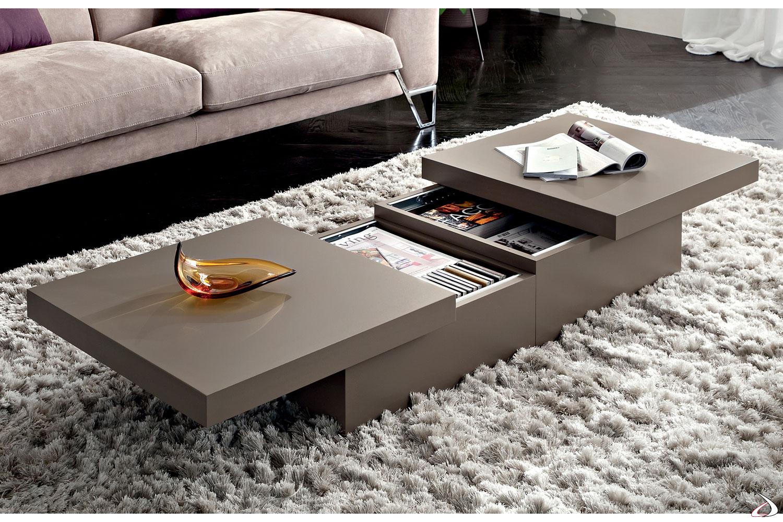 Tavolino moderno quadrato basso contenitore