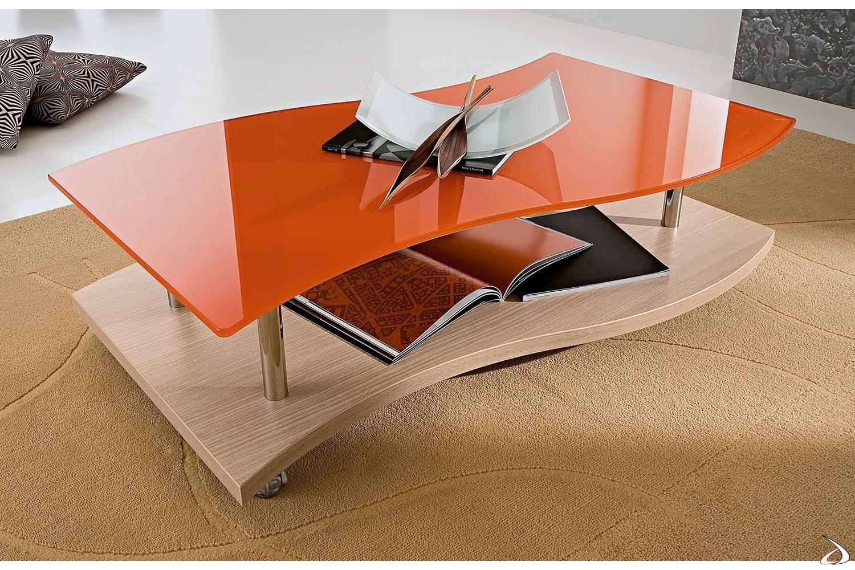 Tavolino su ruote moderno da salotto con piano in vetro arancione sagomato