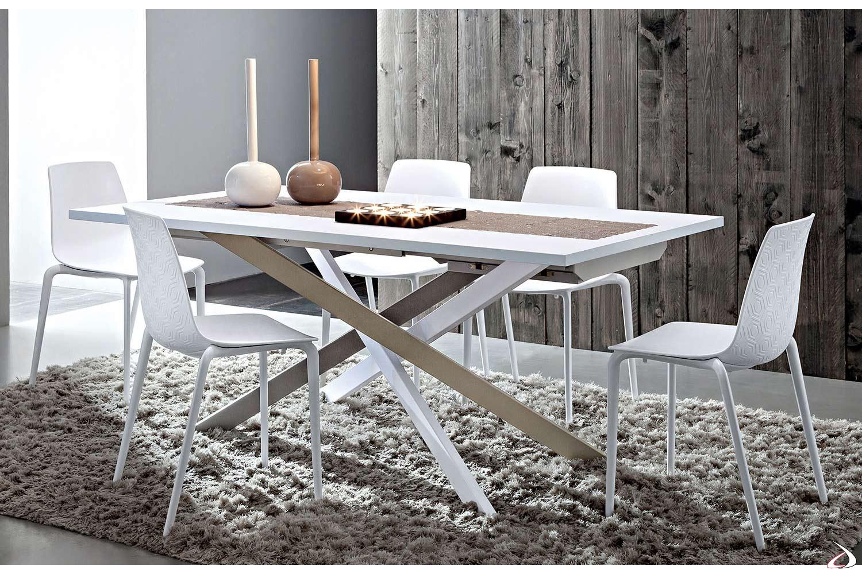 Tavolo allungabile con basamento bianco, castoro e grigio