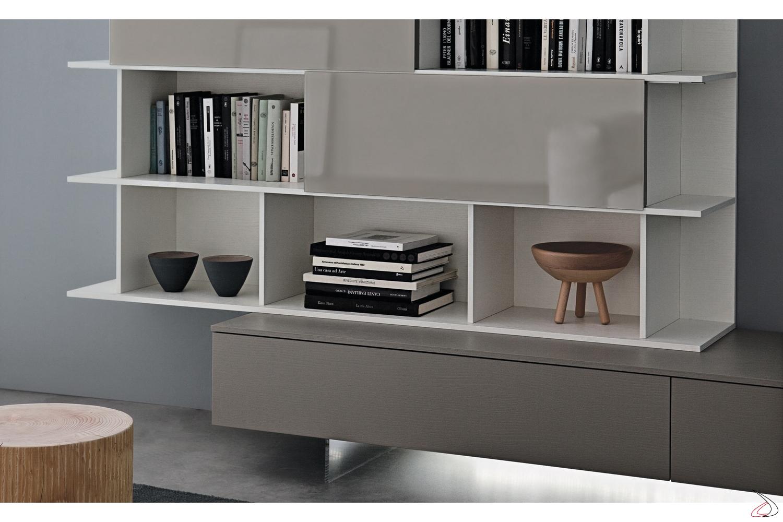 Libreria Con Ante Scorrevoli.Parete Soggiorno Moderna Dubel Toparredi Arredo Design Online