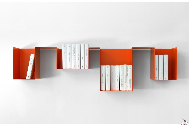 Libreria design in metallo appesa a muro