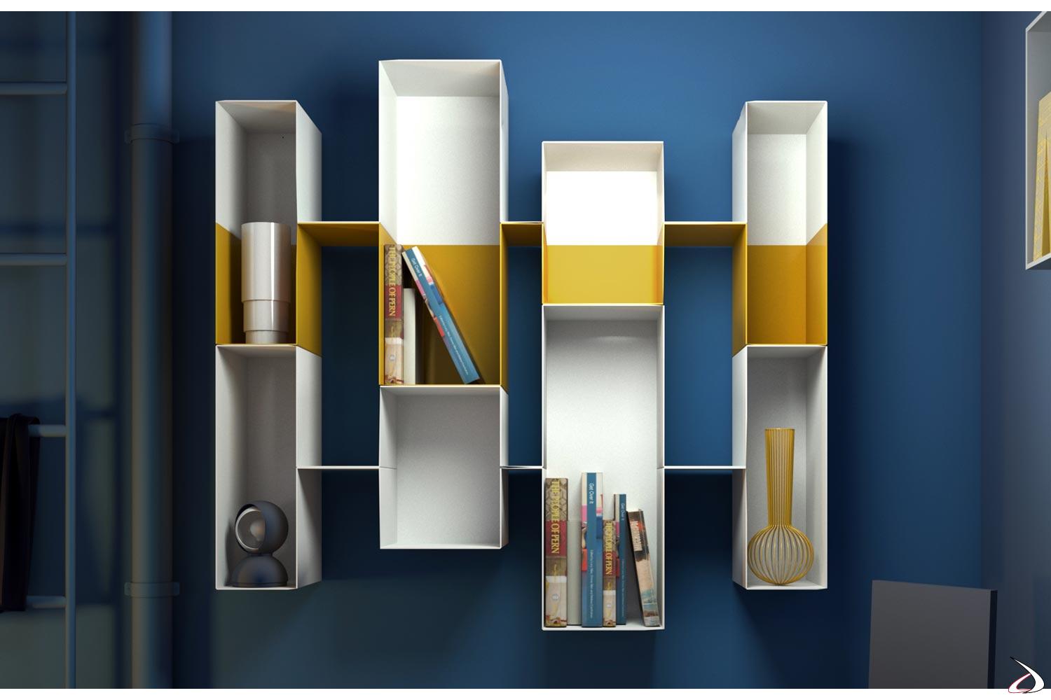 Libreria di design componibile in metallo