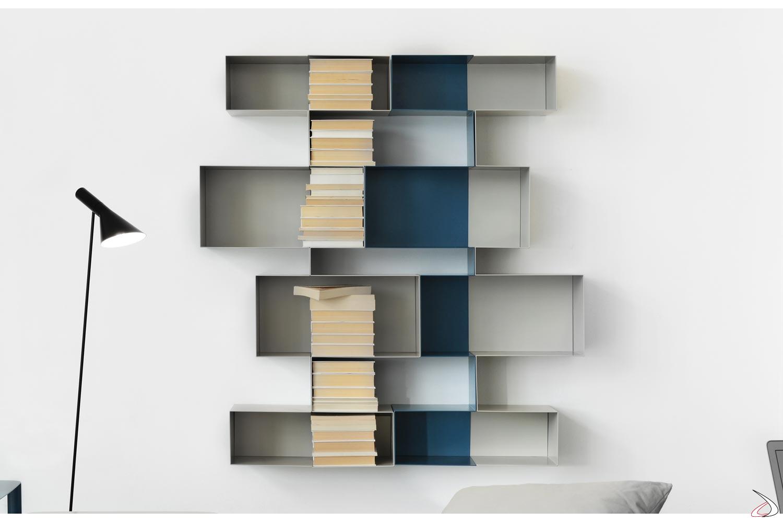 Libreria componibile in metallo colorato