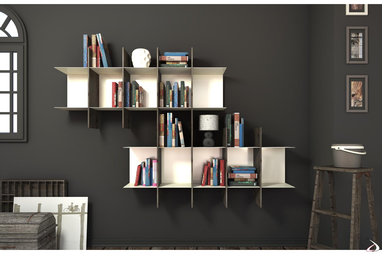 Libreria componibile appesa a muro in metallo