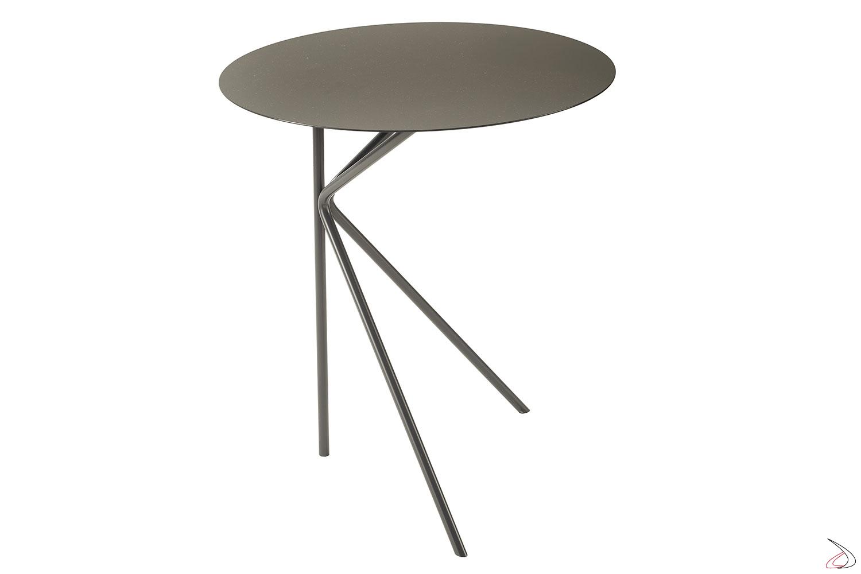 Tavolino in metallo colorato rotondo da fianco divano