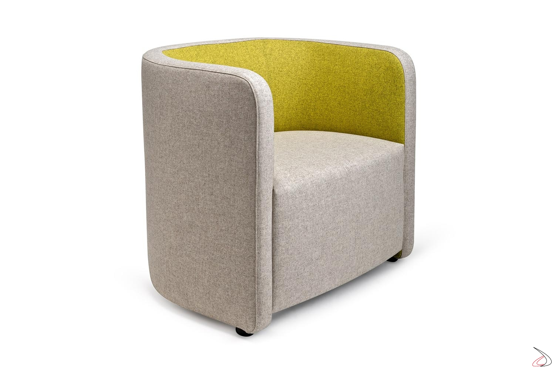 Poltrona moderna per sala aspetto imbottita e rivestita in tessuto bicolore