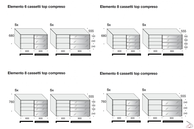 Misure comò moderno a 6 e 8 cassetti