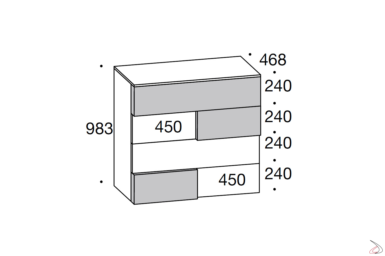 Misure cassettiera 6 cassetti moderna