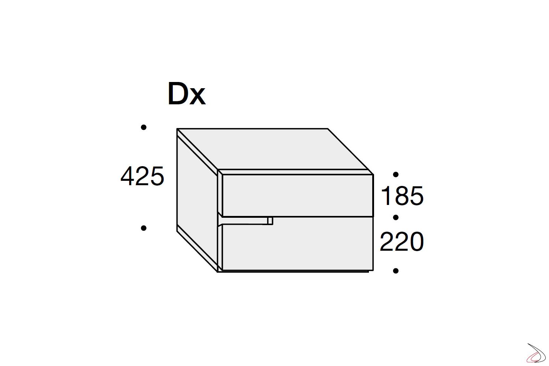 Misure comodino moderno 2 cassetti