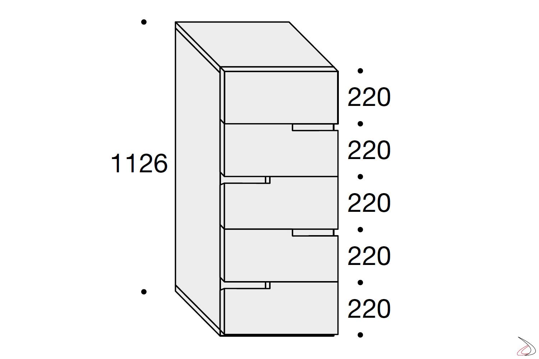 Misure settimino 5 cassetti per camera da letto