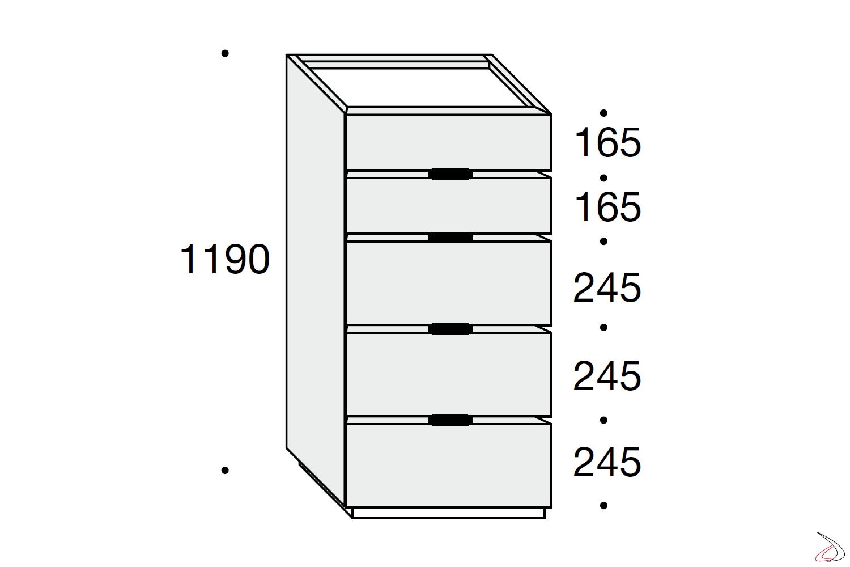 Misure settimino moderno 5 cassetti