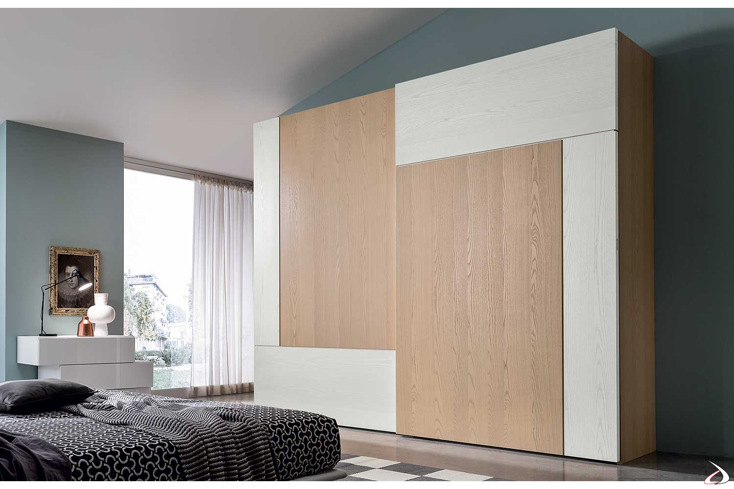 Armadio Per La Camera Da Letto.Spacious Wardrobe With Two Lucas Sliding Doors Toparredi