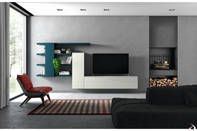 Arredo soggiorno sospeso di design con mensole e pensili in legno