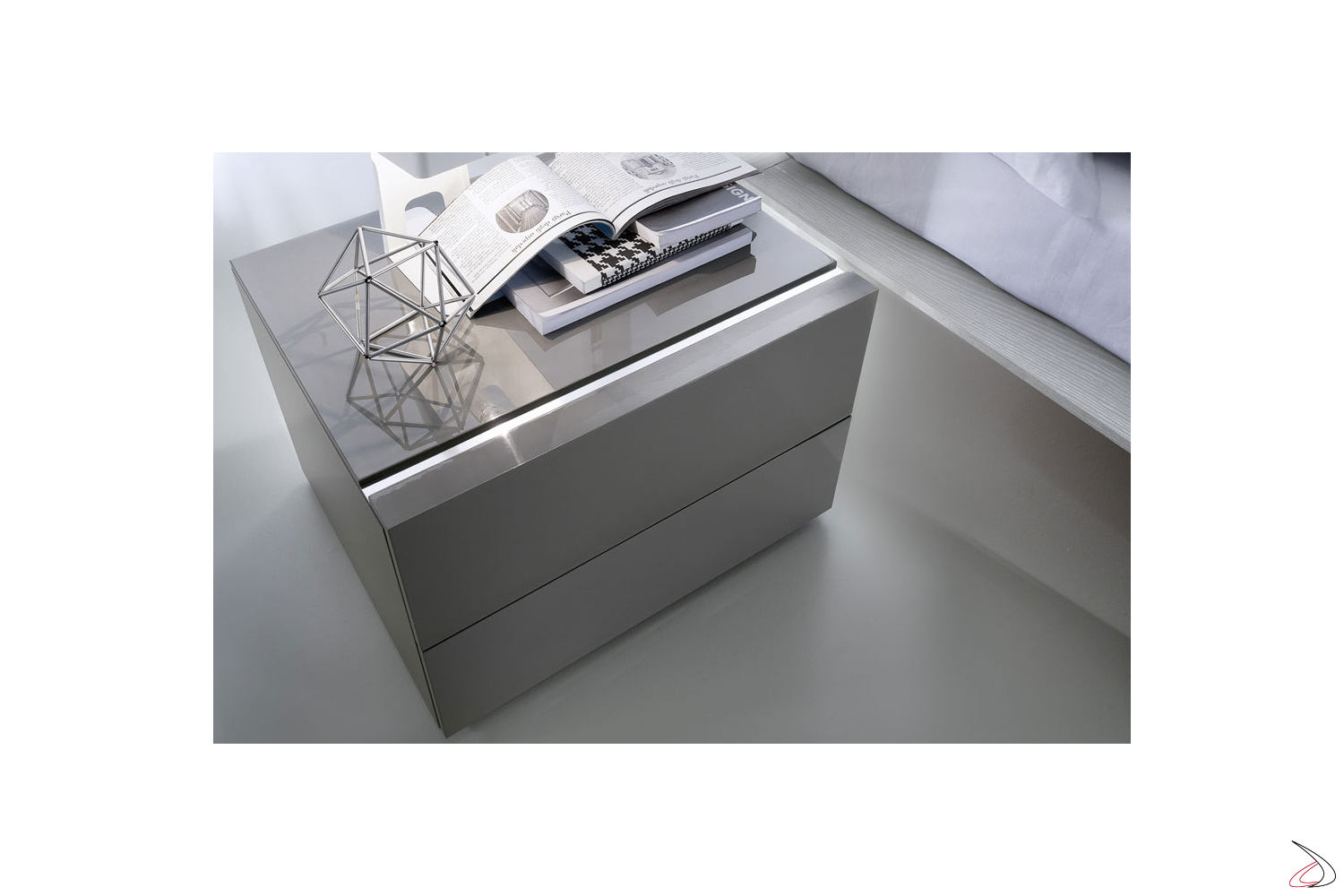 Design nightstand with 2 drawers for the bedroom