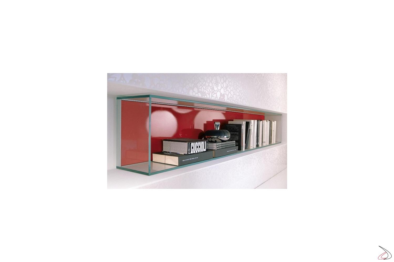 Libreria design in vetro a muro da soggiorno