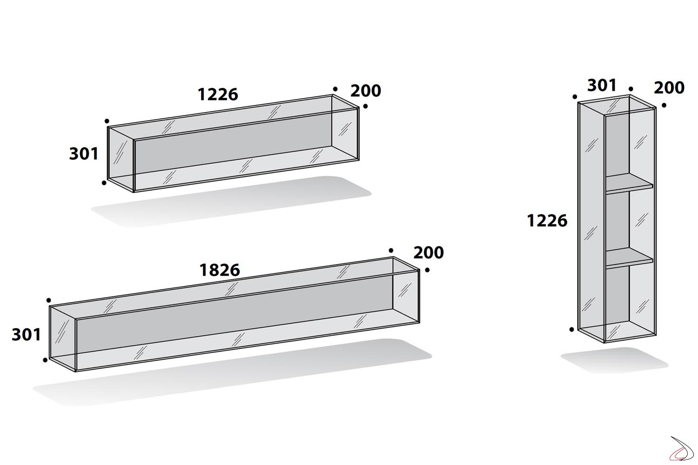 Moduli per libreria in vetro componibile