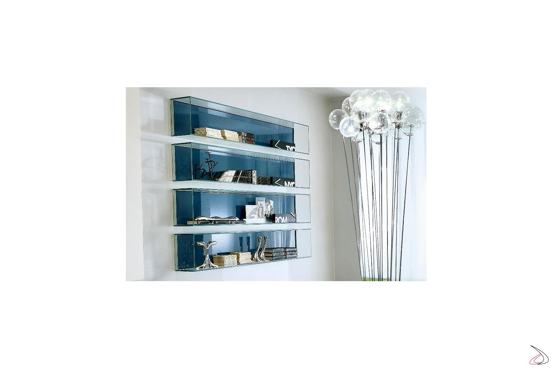 Libreria a muro in vetro di design