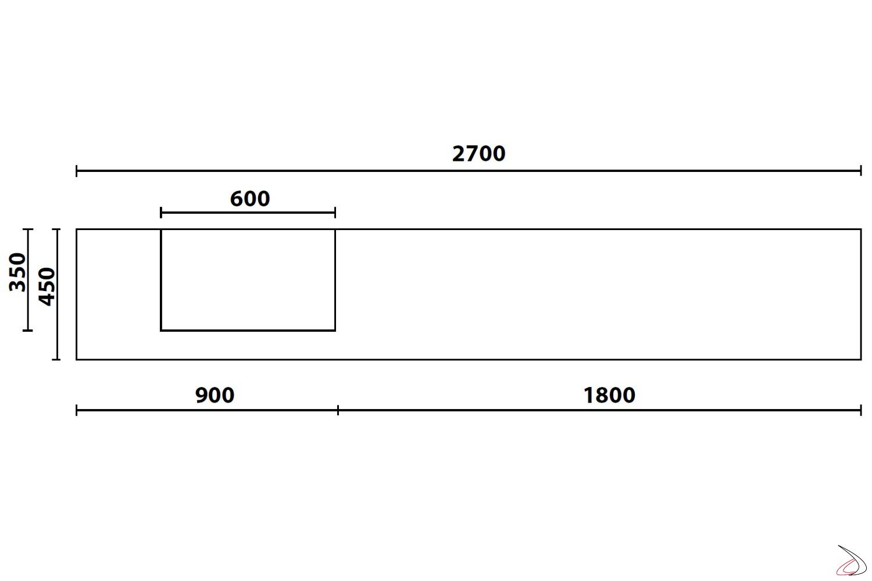 Misure parete soggiorno design componibile in legno