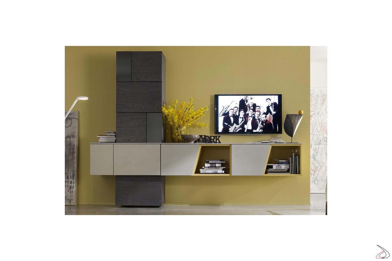 Mobile soggiorno a muro in legno di design