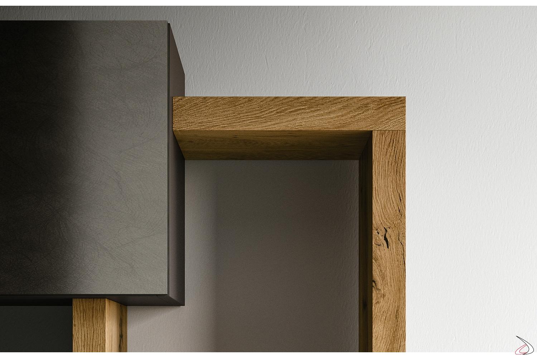 Parete attrezzata sospeso a muro con pensile laccato e mensole in legno
