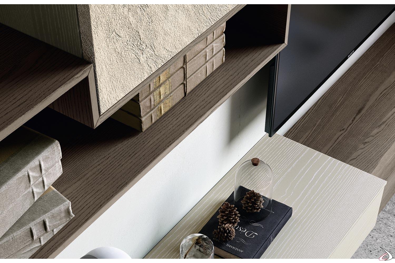 Soggiorno componibile di design in legno frassino