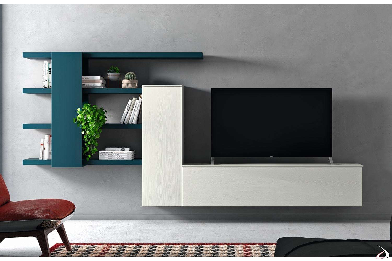 Mobile soggiorno design sospeso con pensili e mensole