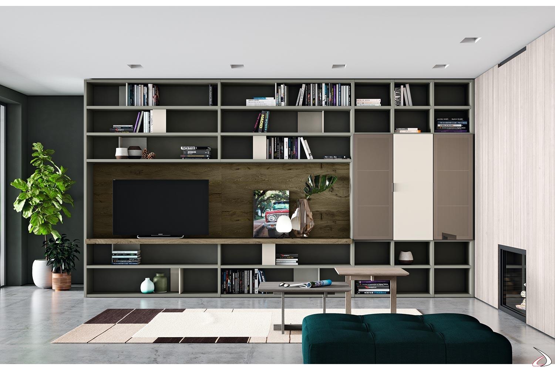 Arredo soggiorno con parete divisoria componibile in legno di design