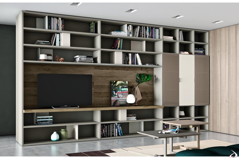 Parete soggiorno di design divisoria in legno con pannello porta tv