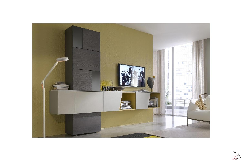 Parete soggiorno componibile di design in legno