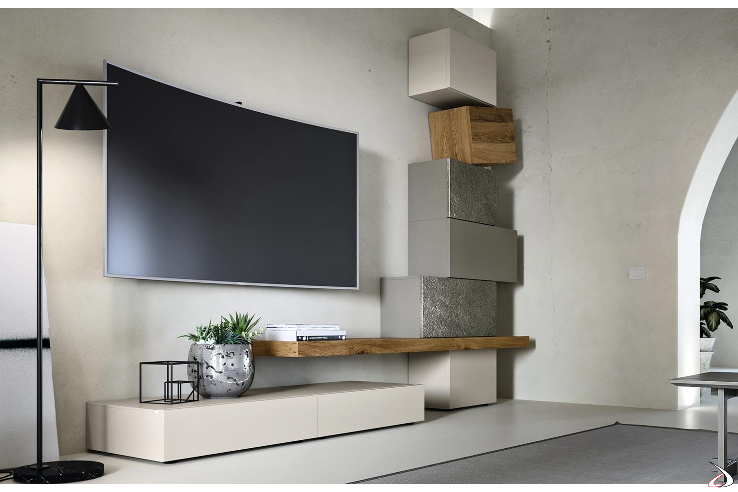 Mobile Soggiorno Design Moderno.Design Living Room In Wood And Stone With Urom Totems Toparredi