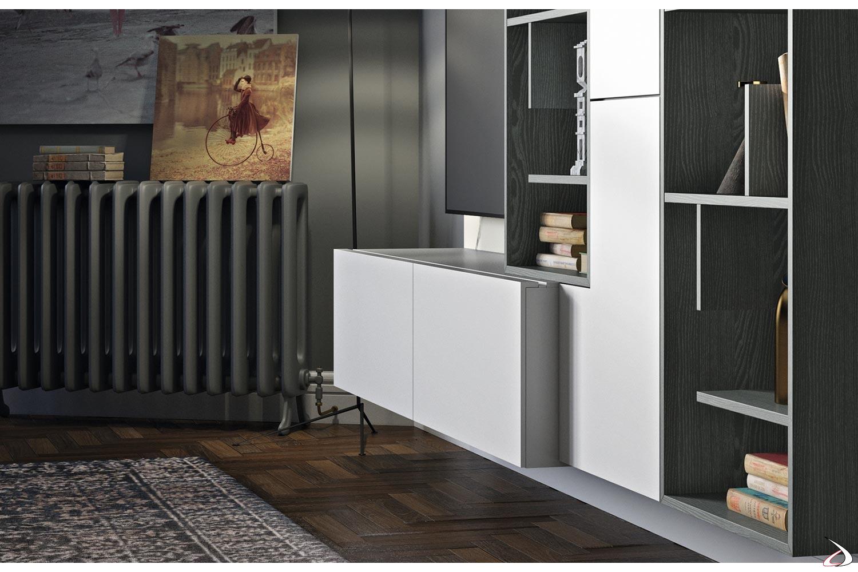 Mobile soggiorno moderno a doppia profondità con base cassetti