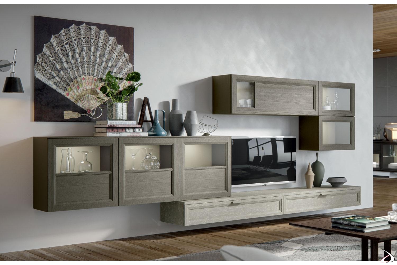 Parete soggiorno sospesa di design in legno massello