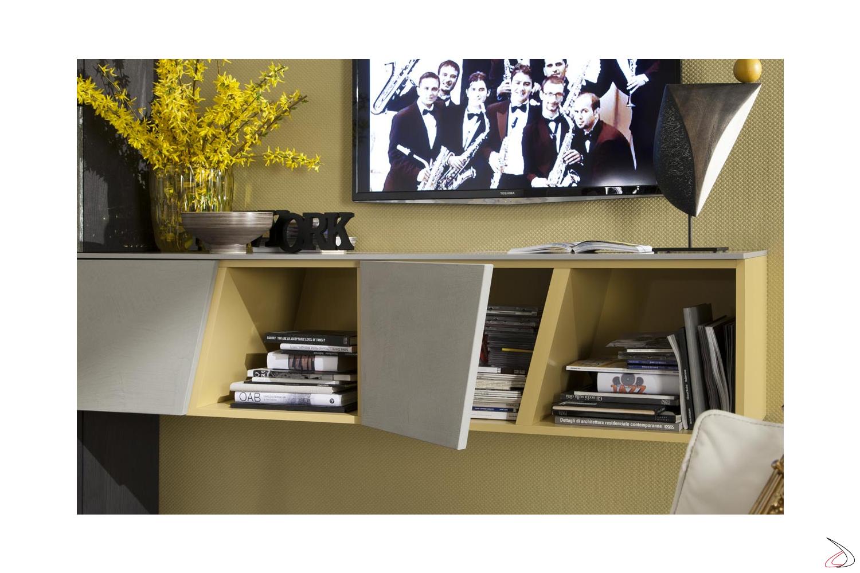 Mobile soggiorno design con pensili a giorno