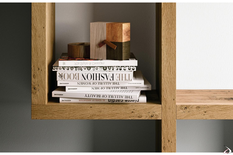 Mobile soggiorno moderno con mensole in rovere invecchiato