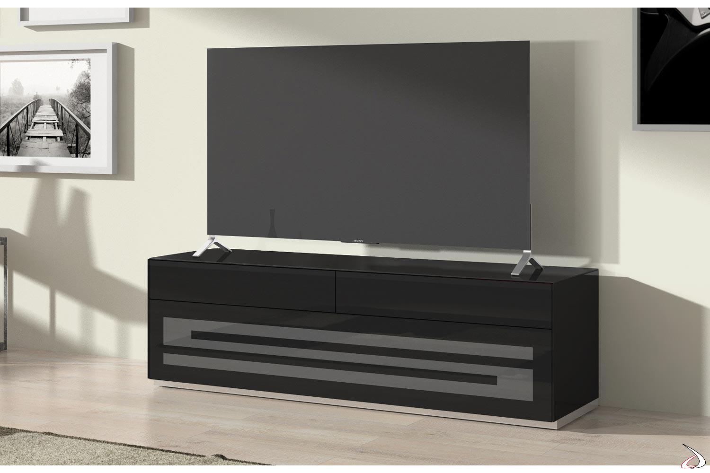 Mobile tv moderno con cassetti e anta in vetro serigrafata