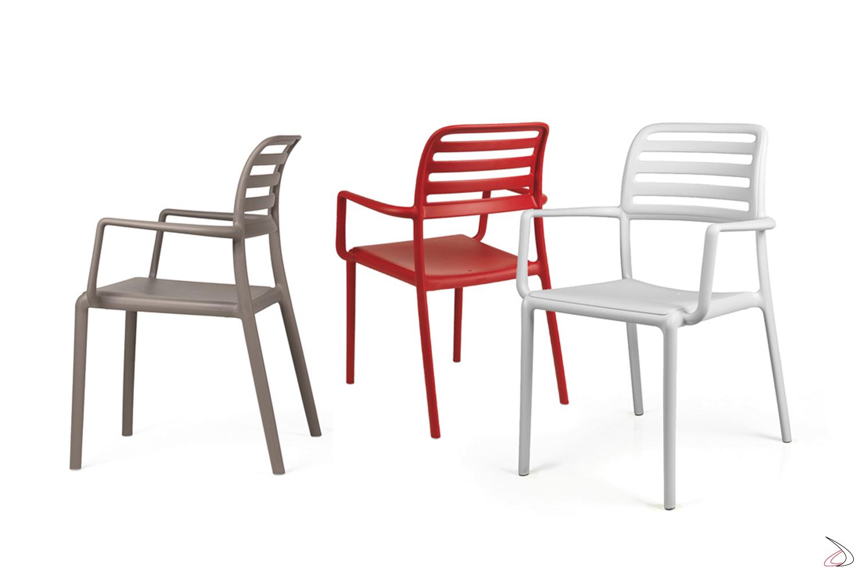 Nardi Sedie Da Giardino.Sedia In Plastica Con Braccioli Costa Toparredi Arredo Design