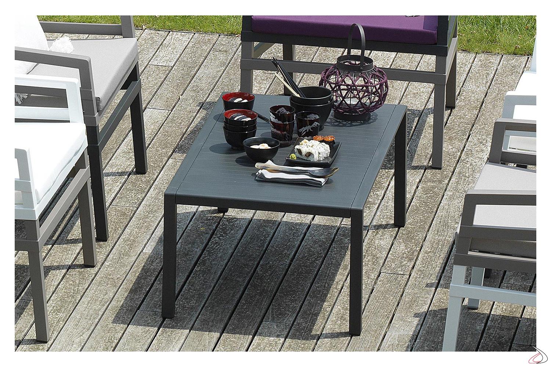 Tavolino basso rettangolare da esterno