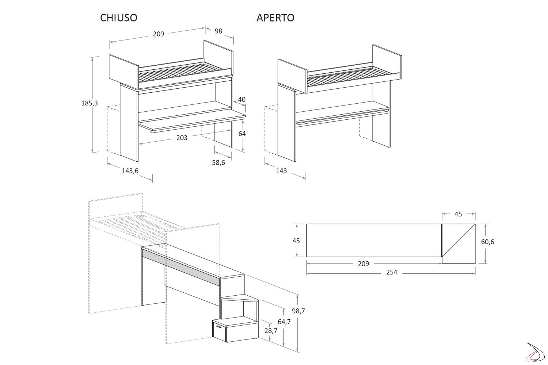 Misure Letto A Castello.Bunk Bed With Skid Second Bed Toparredi Arredo Design Online