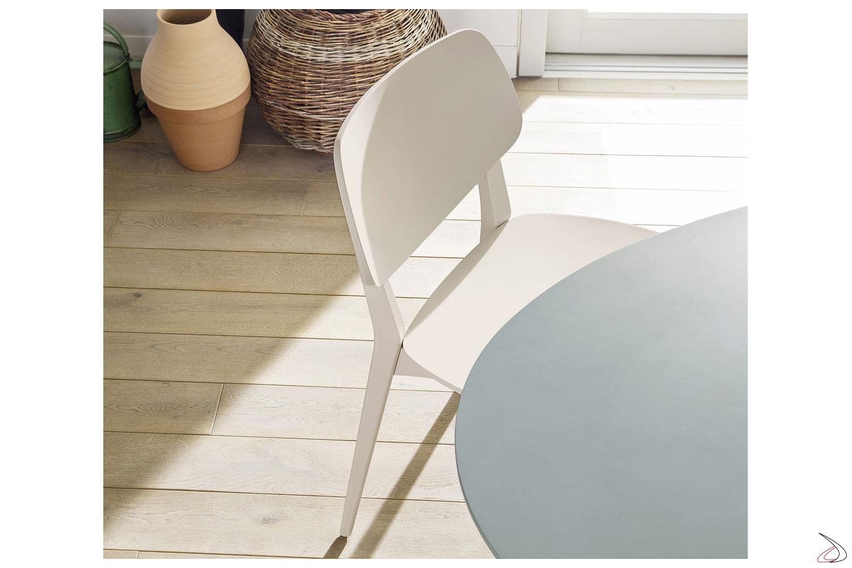 Sedia moderna bianca in legno da cucina