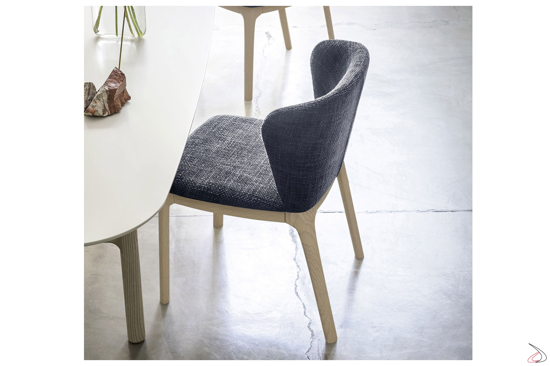 Sedia moderna in legno e imbottita Navy | TopArredi