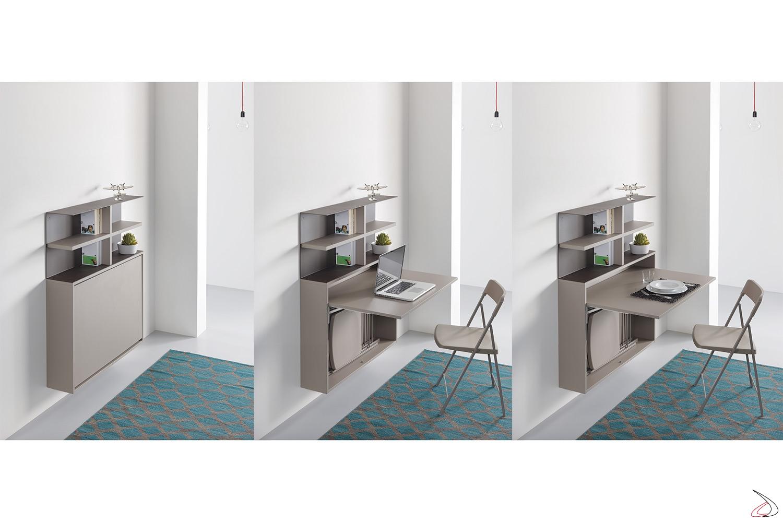Consolle scrivania poco profonda trasformabile con contenitore