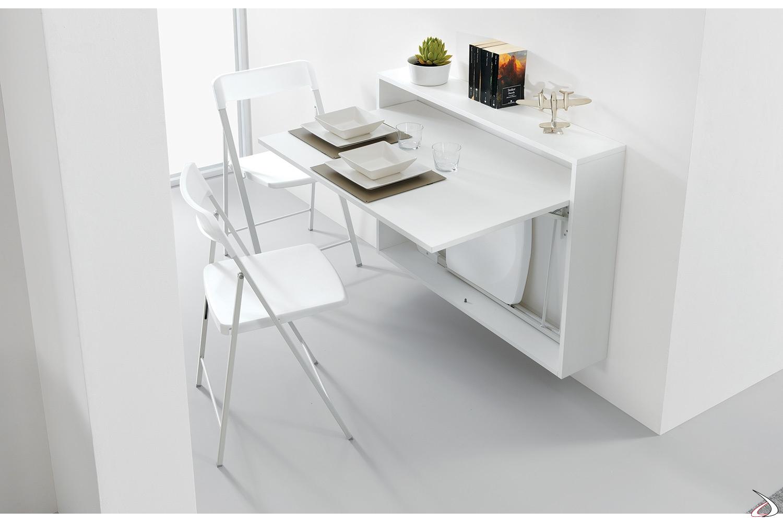 Tavolo consolle bianco moderno pieghevole con sedie