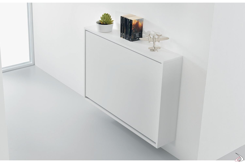 Consolle bianca sospesa poco profonda con contenitore per sedie