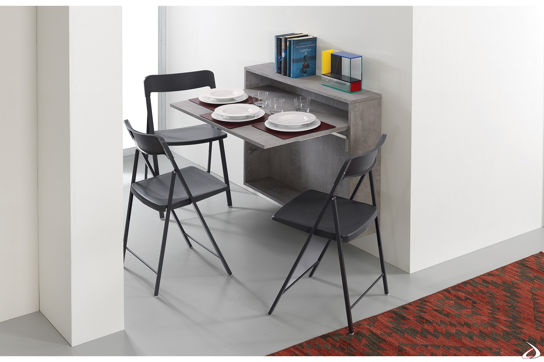 Consolle tavolo da pranzo 3 posti sospeso a parete soggiorno
