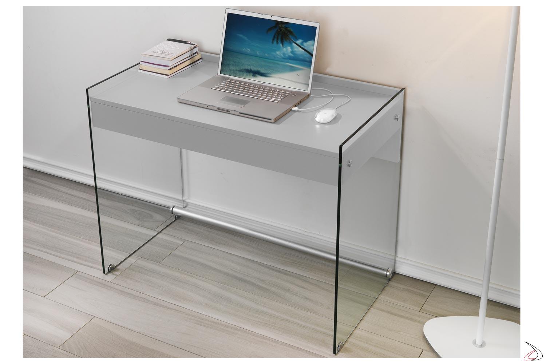 Consolle scrivania in vetro e legno