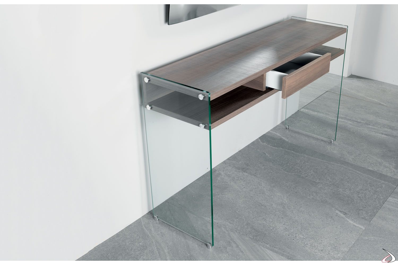 Consolle di design in legno con gambe in vetro