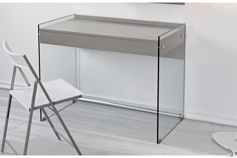 Consolle scrivania con fianchi in vetro trasparente