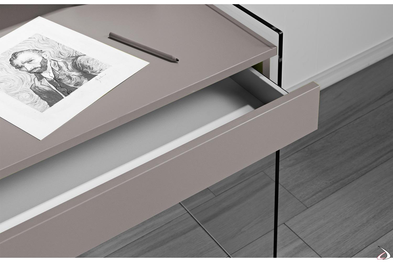 Cassetto consolle in legno con interno bianco